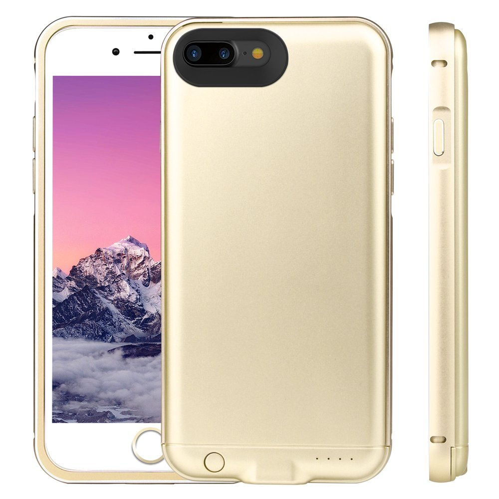 iPhone 6 Plus/7 Plus/8 Plus Battery Case, 4000mAh Rechargeable External Battery Portable Power Charger Metal Frame Protective Charging Case for Apple iPhone 6/7plus 7+ / 8plus 8+ (5.5 Inch) (Gold)