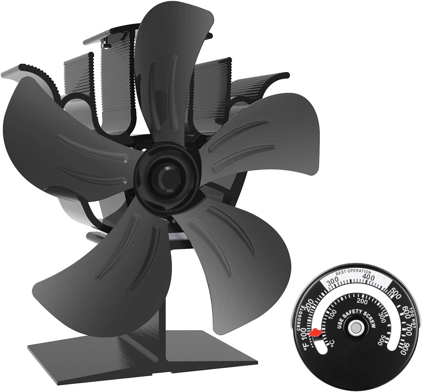 KINDEN Wood Burner Fan 5-Blade Heat Powered Stove Fan for Wood Log Ultra Quiet with Stove Thermometer (Aluminium Black,Large Size)