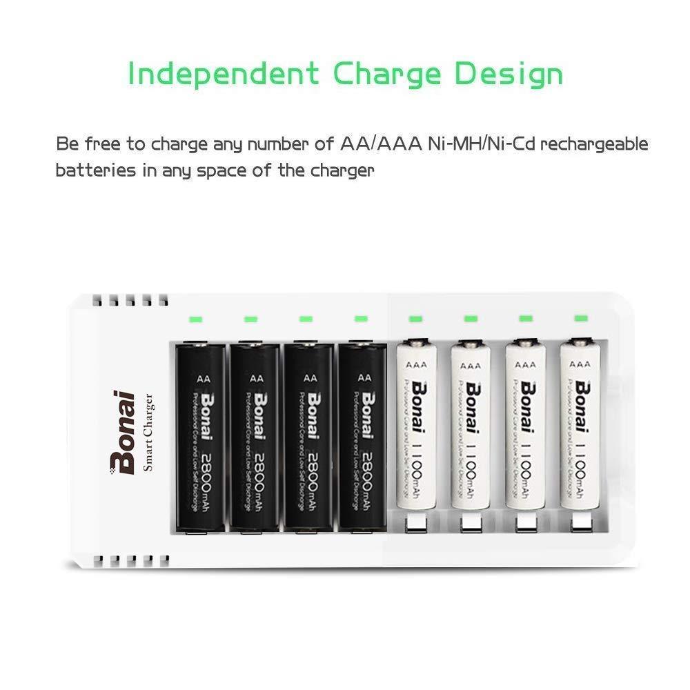 BONAI Pilas Recargables AAA 1100mAh 8 Piezas Ni-MH Bater/ías Recargables con 8 Bay AA AAA Cargador de Bater/ía