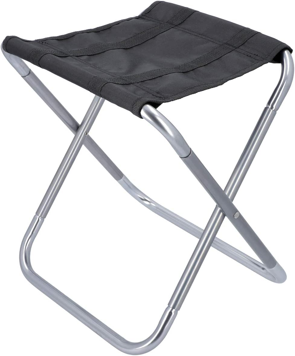 Gun Metal Outdoor Leisure Camping Folding Stool Collapsible Lightweight Indoor Outdoor Garden Seating Furniture