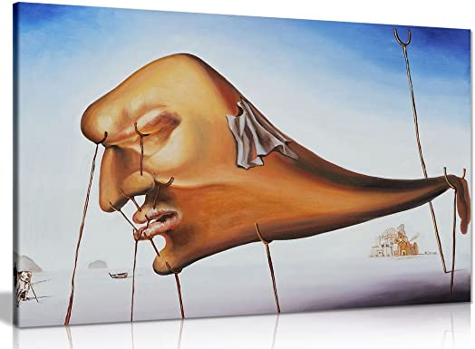 Salvador Dali Sleep Canvas Wall Art Picture Print 36x24in