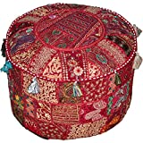 Round Patchwork Embroidered Multi Ottoman Pouf Bohemian Indian Decorative, Size 16 X 16 X 12 Inches