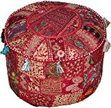 Round Patchwork Embroidered Multi Ottoman Pouf Bohemian Indian Decorative, Size 16 X 16 X 12 Inches For Sale