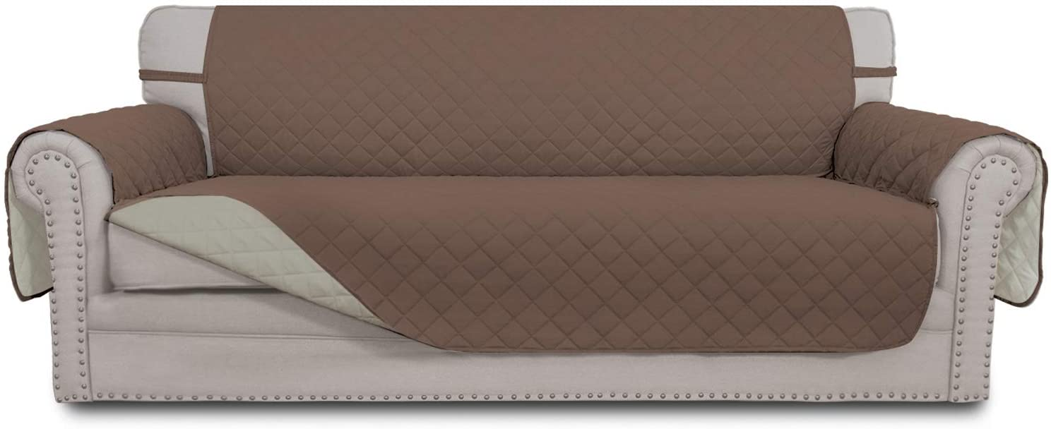 Easy-Going Sofa Slipcover Reversible Sofa Cover Water Resistant Couch Cover Furniture Protector with Elastic Straps for Pets Kids Children Dog Cat(Oversized Sofa, Brown/Beige)