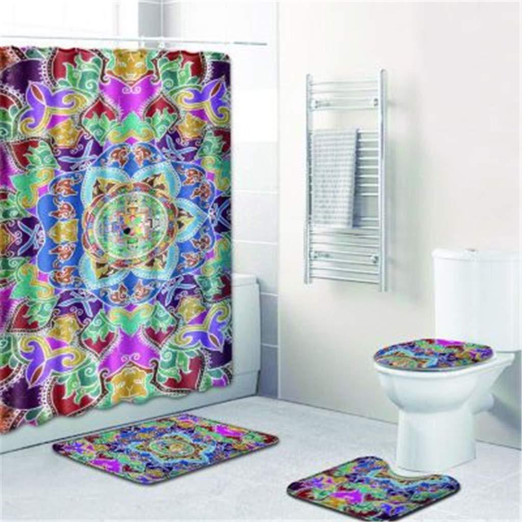 DIRANCE @ Waterproof and Bright Church Print Retro Style Bathroom Shower Curtain Non-Slip Carpet Toilet lid Bath mat -4Pcs (F)