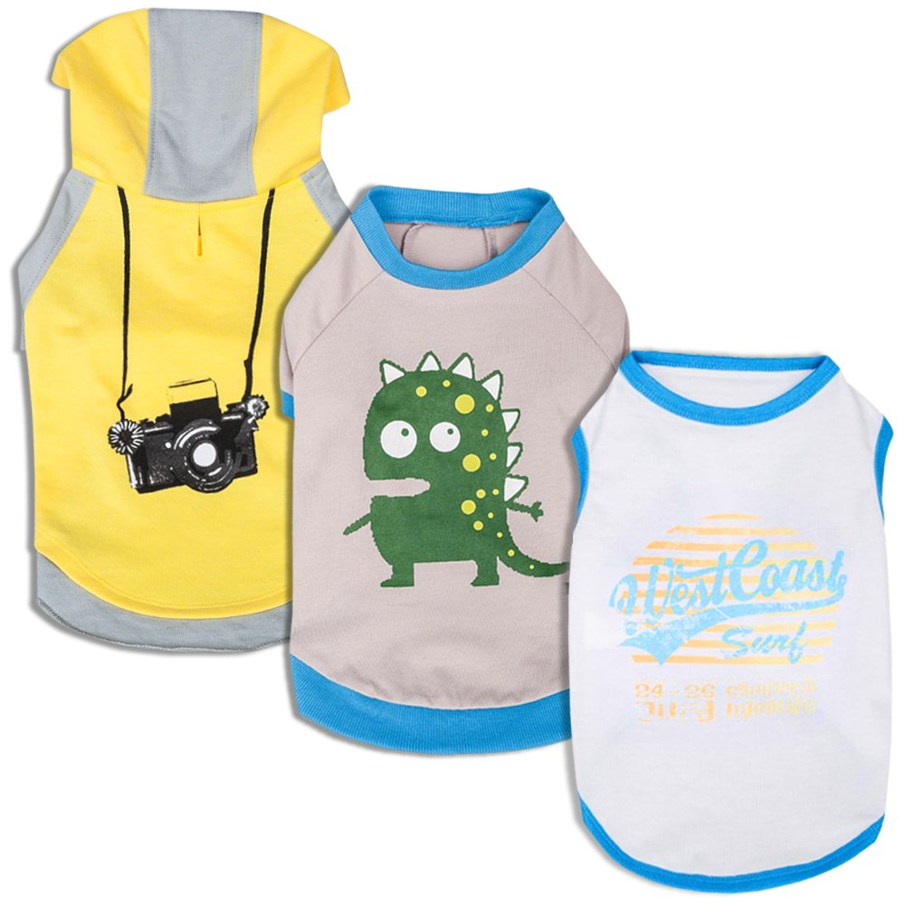 Blueberry Pet Pack of 3 Clothes for Dogs, Back Length 14'', Dog T Shirt Hoodie with Dinosaur Camera and Calafuria Surfer Pattern