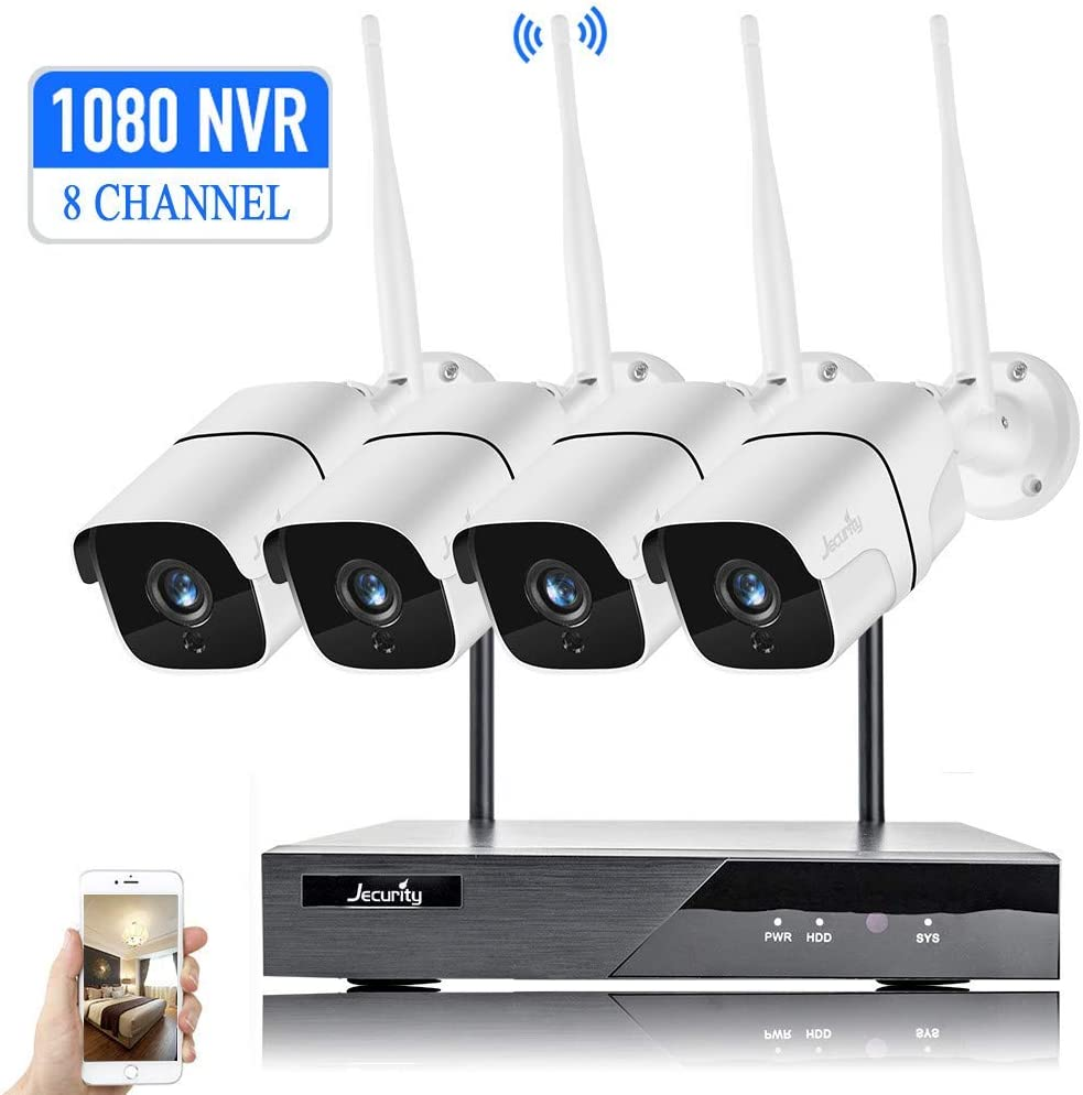 [2020 Expandable 8CH] Home Security Camera System, Jecurity 8CH Wireless Security Camera System 1080P NVR, 4 IP66 WiFi Cameras with Night Vision, Motion Alerts(No Hard Drive)