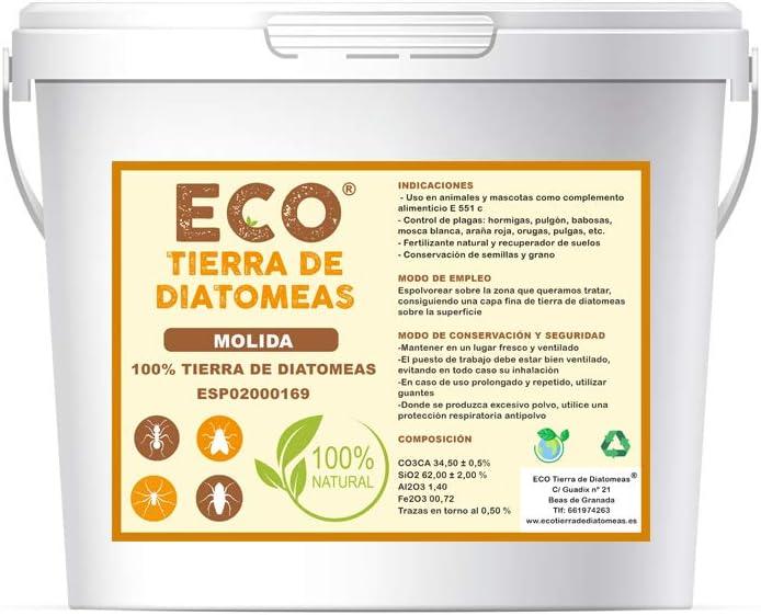ECO Tierra de diatomeas Molida 5kg - Producto 100% Natural y ecológico - Grado alimenticio
