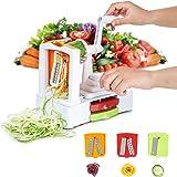HOMMINI Coupe légumes Spirale en Plastique 3 dans 1, Lames Interchangeables, Spiraliseur, Trancheur Spaghetti pour Fruit, Salade et Pâte