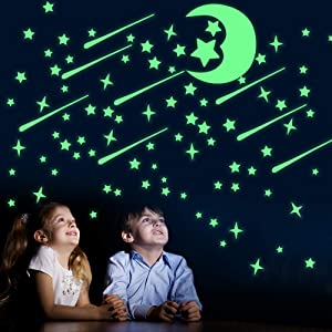 Stickers Glow in The Dark Stars, Luminous Stars Wall Stickers for Kids Room 444 Pcs Realistic Galaxy Glowing Stickers Room Decor Kit for Room, Wall, Bedroom, Light Up Your Ceiling and Living Room