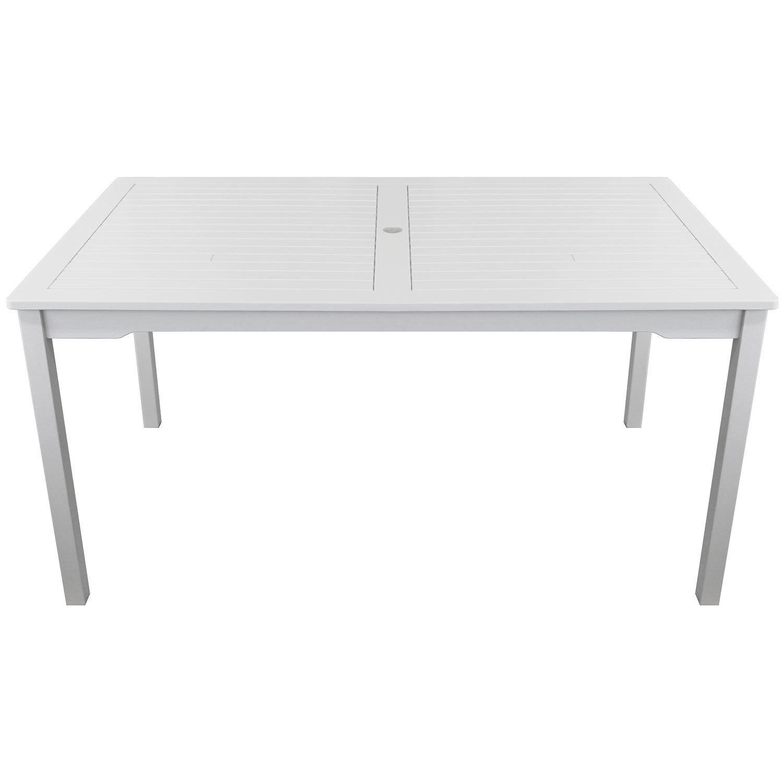 Gartentisch im Landhausstil aus Eukalyptusholz weiß 150x90cm Holztisch Gartenmöbel Terrassenmöbel