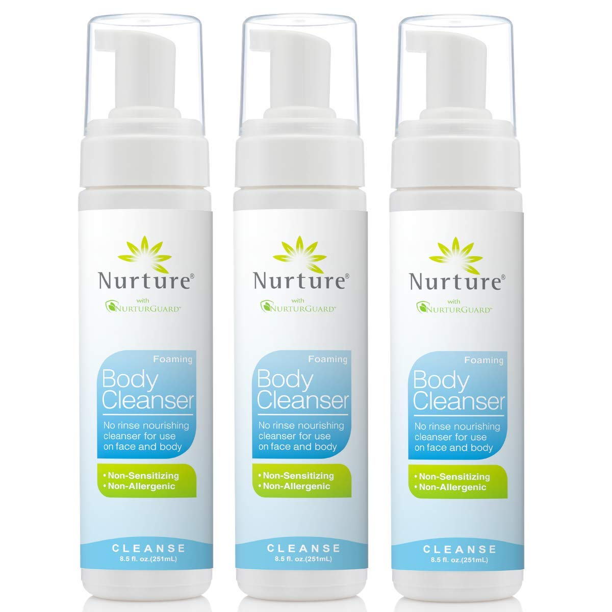 No Rinse Body Wash by Nurture | Full Body Cleansing Foam That Also Moisturizes, and Protects Skin - Non Allergenic - Non sensitizing - Rinse Free Wipe Away Cleanser - 3 Bottles by Nurture