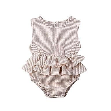 07083f7b0 Urkutoba 2019 Infant Baby Girl Sleeveless Romper Bodysuits Cotton Fibre Flutter  Sleeve One-Piece Romper