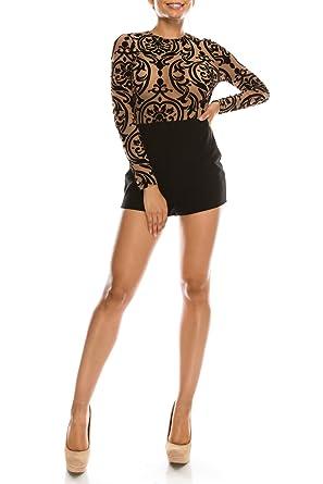 55729b6b7f3 ALLBrand Women s Sexy Long Sleeve Round Neck Flocking Tattoo Printed Mesh  Top Romper Jumpsuit - Beige