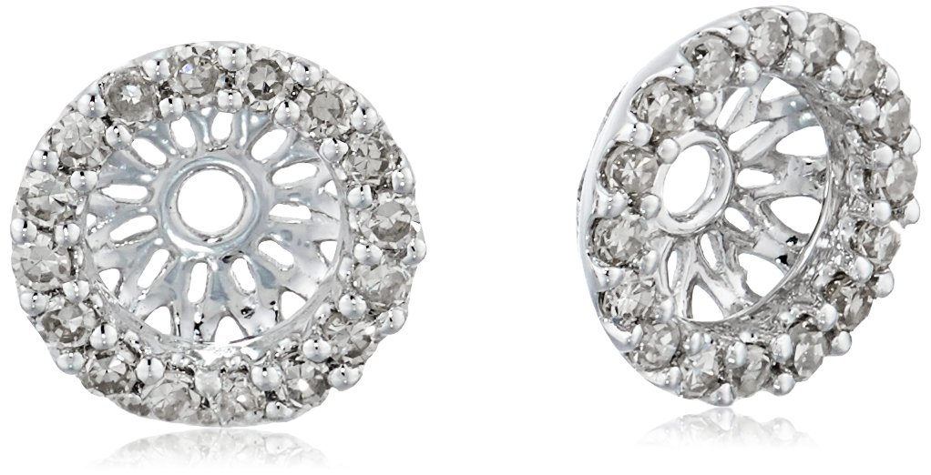14k White Gold Diamond Classic Halo Earrings Jackets (1/6 cttw, J-K Color, I2-I3 Clarity)