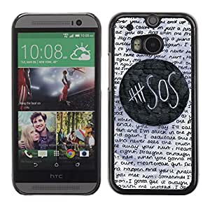 FlareStar Colour Printing Help Sos Student School Text Funny cáscara Funda Case Caso de plástico para HTC One M8