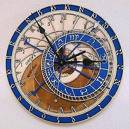 LucaSng Reloj De Pared Creativo Reloj De Madera Astronómico De Praga Reloj De Pared De Sala De Estar Reloj De Cuarzo Inicio 12Inch A