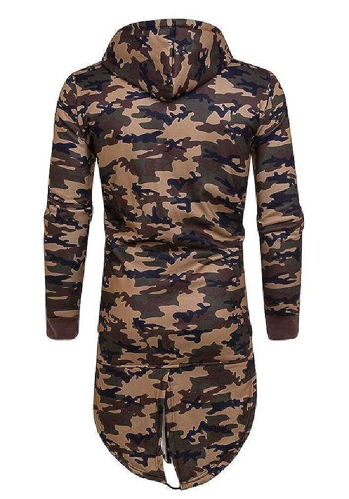 AngelSpace Men Camo Long Hooded Jackets Zipper Autumn Sweatshirts