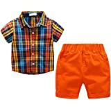 BAOBAOLAI Baby Boys 2PCs Formal Suits Bowtie Polo Shirt with Overall Shorts