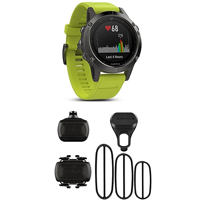 Garmin Fenix 5 - Slate Gray with Amp Yellow Band and HRM-Tri Heart Rate Monitor