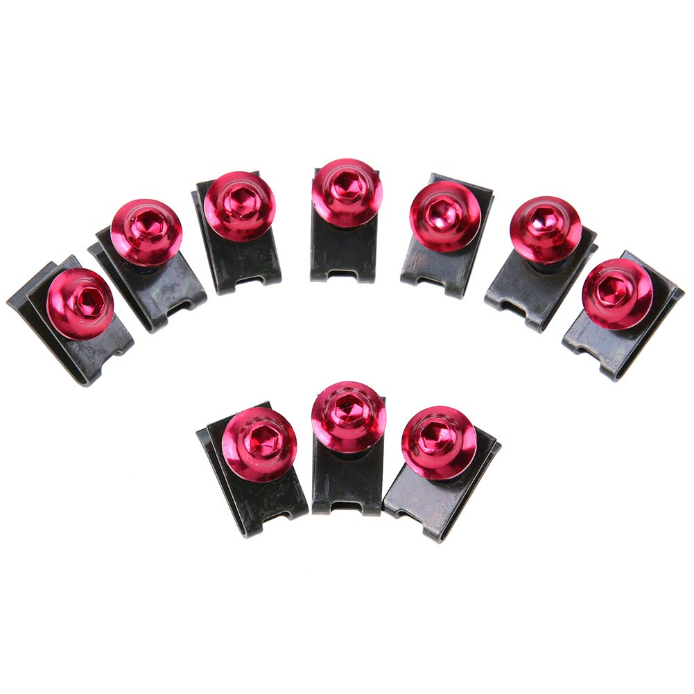 Ahomi 10pcs 5mm Motorcycle Fairing Bolts Spire Speed Fastener Clip Screw Spring Nuts (Red)
