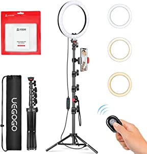 Selfie Ring Light with Tripod Stand & Phone Tripod Holder, 10.2 inch UEGOGO 3 Modes LED Ring Light & Selfie Stick for Makeup/Photography/Live Streaming/YouTube TikTok, Compatible with iPhone/Android