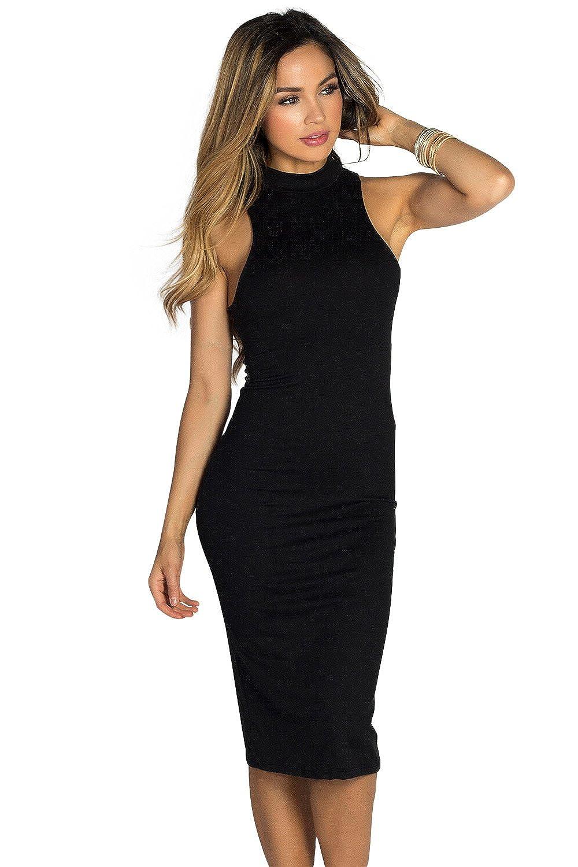 c3010adb0175 Babe Society Women s Turtleneck Sleeveless Jersey Bodycon Midi Dress Large  Black at Amazon Women s Clothing store