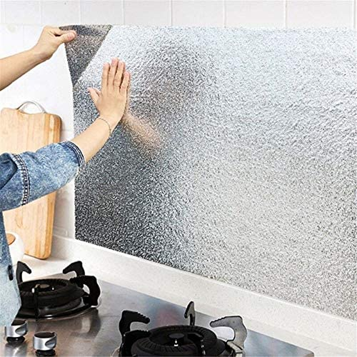 1Roll Aluminum Oil Proof Kitchen Sticker Self Adhesive Waterproof Wall-Paper 1M
