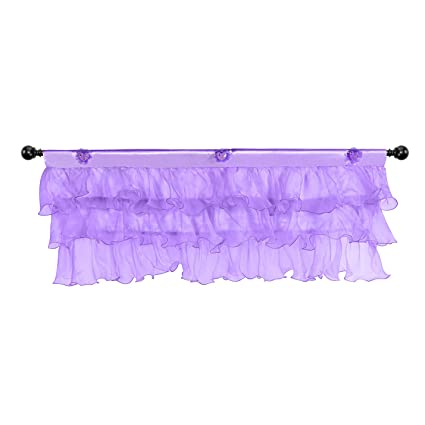 Fulu Bro Kids Purple Tulle Window Valances Fluffy Ruffle Voile Curtain for  Girls Bedroom for Baby Nursery Room Window Decorations (52 × 16 inch)
