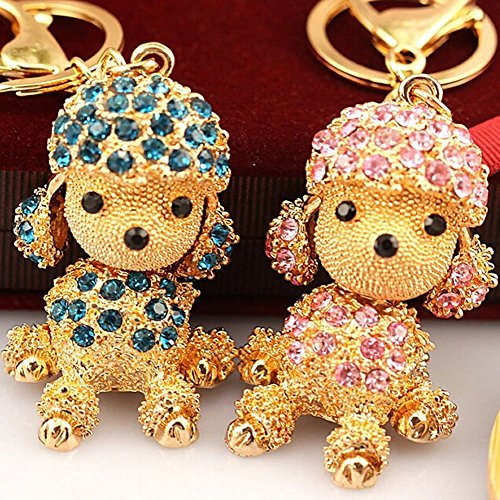 Cute Dog Sparkling Poodle Blingbling Crystal Rhinestone Alloy Metal Keychain Animal Puppy Lover Kawaii Keyring Key Chain Pendant Purse Handbag Bag Car Hanging Charm Decoration Gift - Poodle Crystal