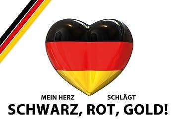 2 Autoaufkleber Mein Herz Schlägt Schwarz Rot Gold