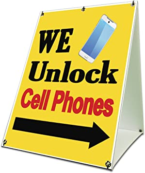 """We Unlock Cell Phones Sidewalk A Frame 18/""""x24/"""" Outdoor Phone Store Retail Sign"""