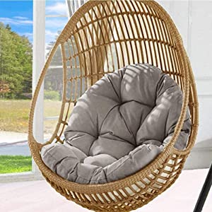 Hanging Basket Chair Cushion Hanging Egg Chair Cushion,Hammock Chair Cushions Thick Nest Back Pillow for Patio Garden Swing Chair Cushion Seat Pads (Grey)
