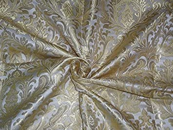 Tela de pana de seda resistente de color marfil x metalizado de color marrón, 91