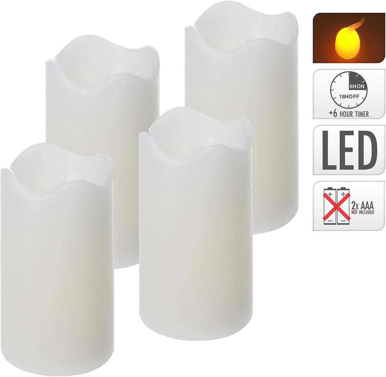Rot /Ø 7 x 13 cm ToCi LED-Kerze mit Timerfunktion flammenlose Echtwachs-Kerze mit flackernder Flamme