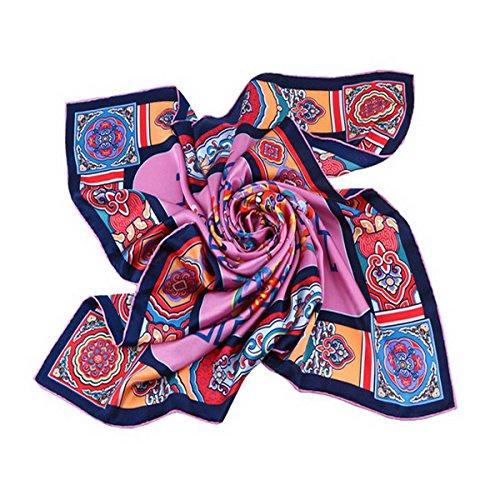 90 Elegant Ahatech Carré 2 Femme Color Pour Foulard 90cm En Imprimé Châle Echarpe Soie vpUqa