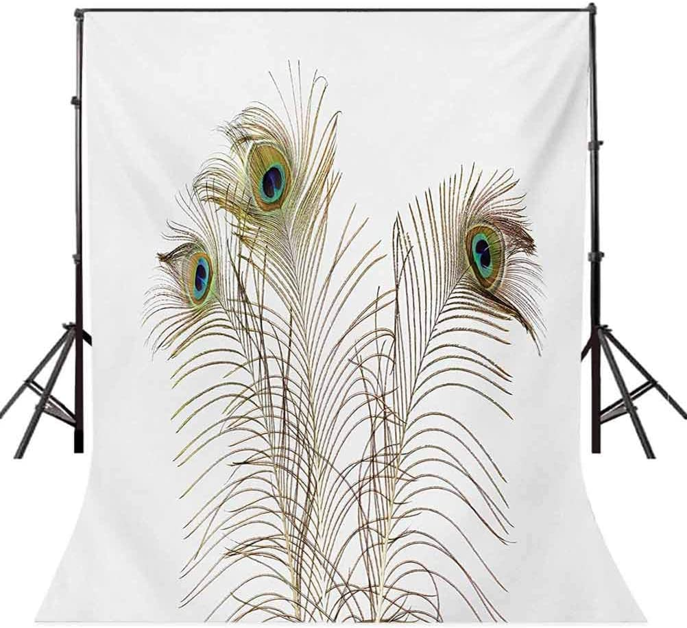 Peacock 6.5x10 FT Backdrop Photographers,Peacock Feathers Closeup Simple Picture Minimalistic Design Artistic Print Background for Party Home Decor Outdoorsy Theme Vinyl Shoot Props Turquoise Brown