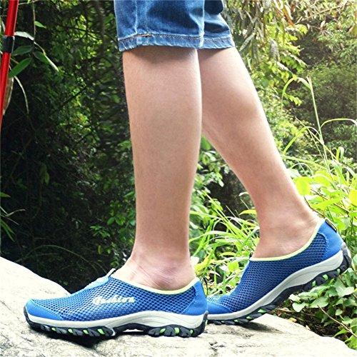Scarpe Da Uomo Saguaro Slip On Quick Dry Aqua Water Scarpe Mesh Traspiranti Casual Scarpe Da Passeggio Blu