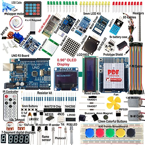 UNO R3 Starter Kit for Arduino OLED SPI Bluetooth LCD1602 PIR RTC DHT11 by Aigh Auality shop
