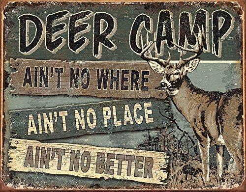 Desperate Enterprises JQ - Deer Camp Tin Sign, 16