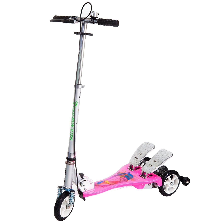 Bike Rassine Kid's Ped-Run Dual Pedal Scooter, Pink