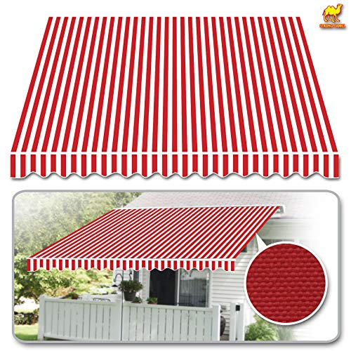(Strong Camel 12'x10' Patio Awning Cover Only Retractable Deck Sun Shade Shelter Canopy Cover (Red with White))