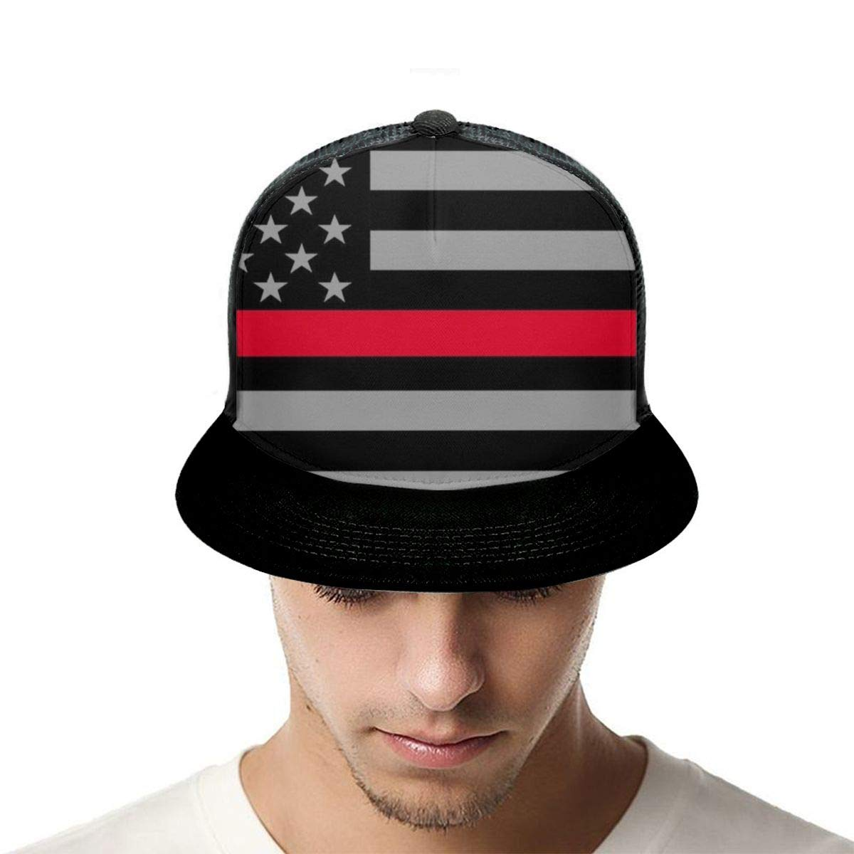 Boys and Girls 100/% Polyester American Flag with Thin Red Stripe Baseball Cap Lightweight Snapback Hat for Unisex