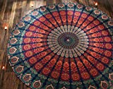 RAJRANG 1 X Indian Mandala Round Roundie Beach Throw Tapestry Hippy Boho Gypsy Cotton Tablecloth Beach Towel Round Yoga Mat