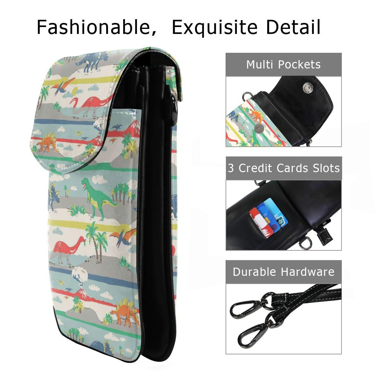 Hsanfwnzl Small Cell Phone Purse Dinosaur Crossbody Bags with Shoulder Strap Coin Purse Wallet for Women,Girls