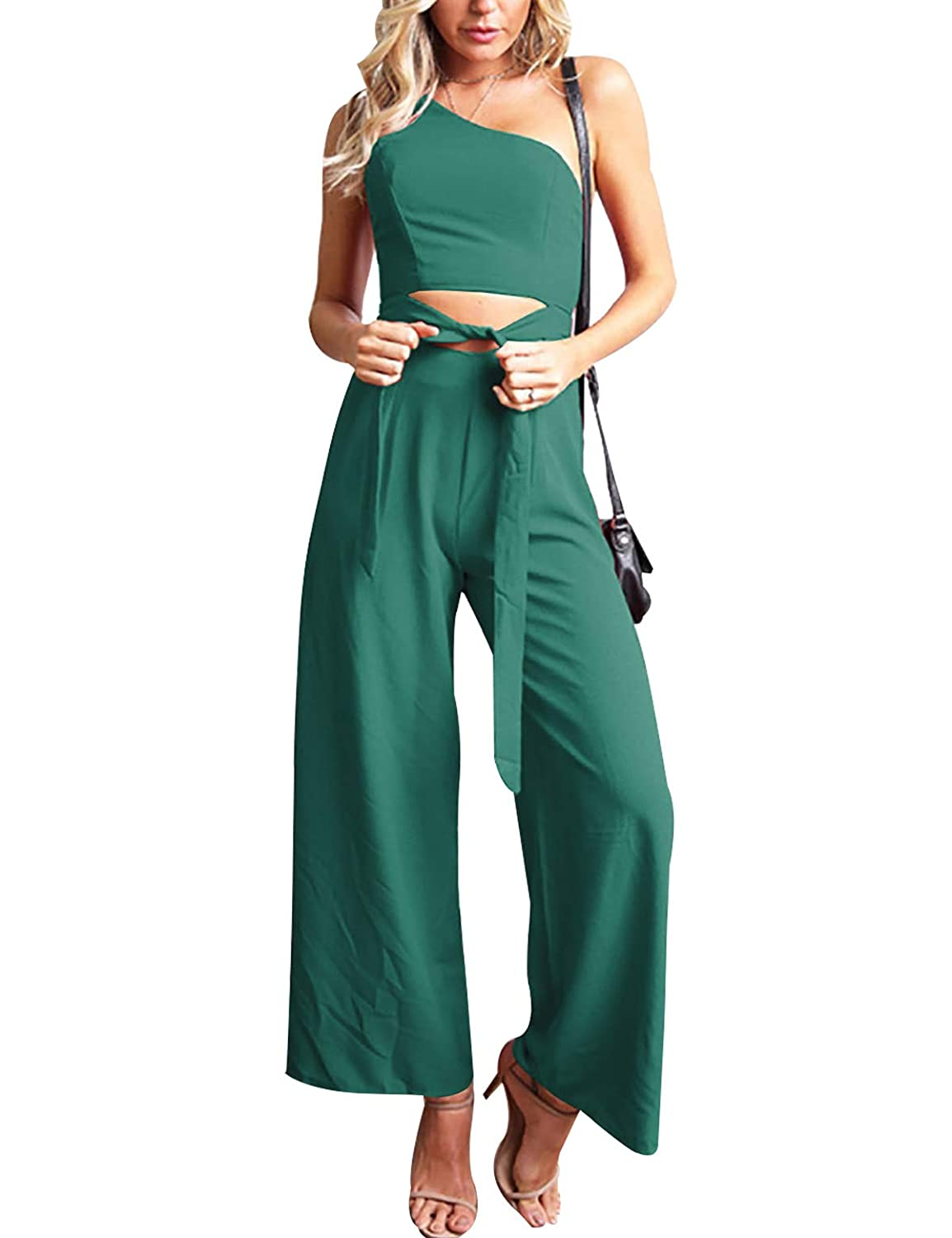 CXINS Womens Solid Color Elegant Sleeveless One Shoulder Cut Out Jumpsuits High Waist Romper with Belt