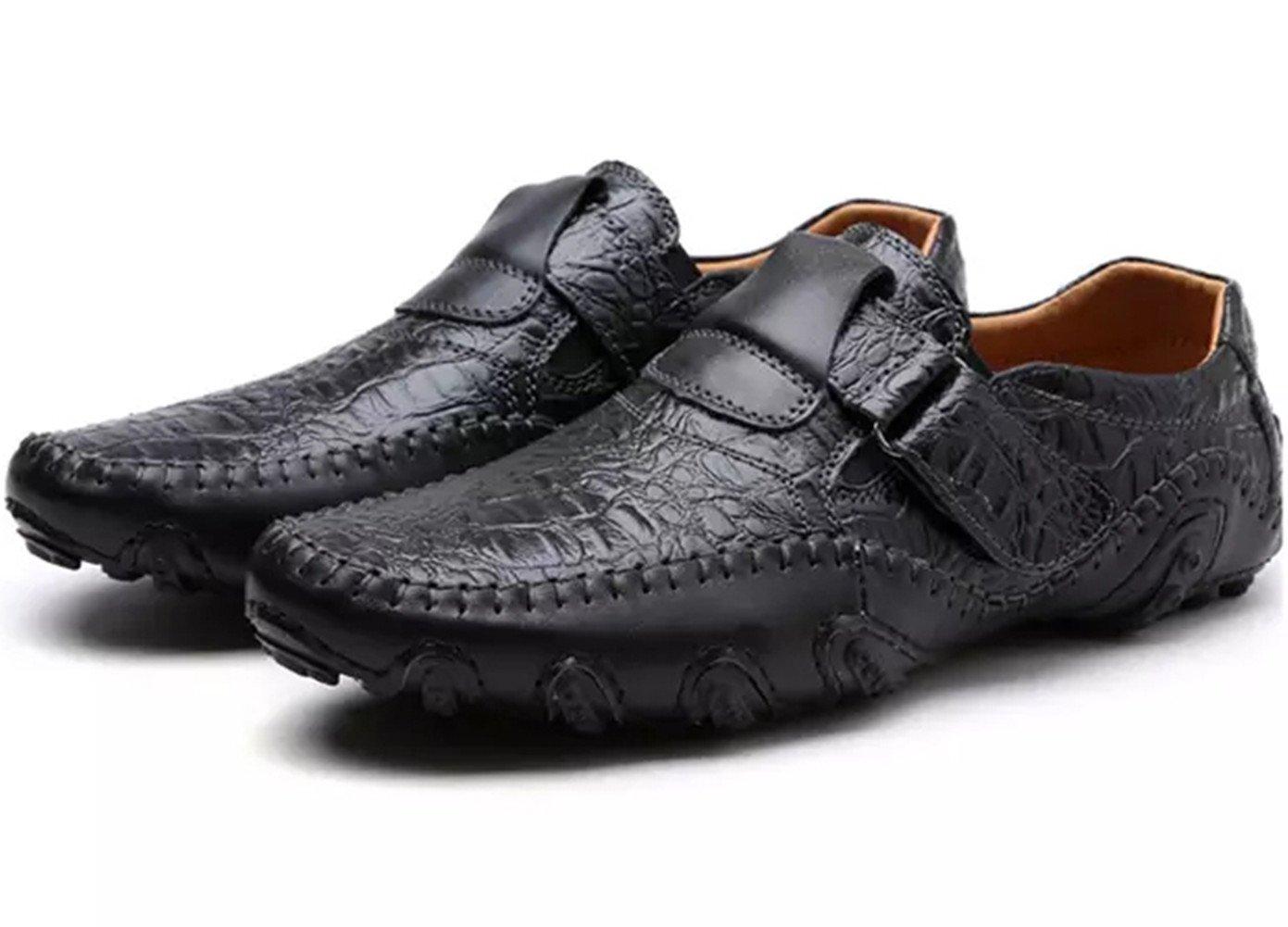 SZAWSL Herren Leder Schuhe Slipper Elegant Flache Loafers Bootsschuhe Derby  E U 42|Schwarz