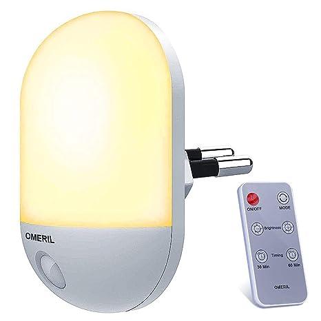 Veilleuse LED avec Télécommande, OMERIL Veilleuse Bébé Minuterie Durée  Eclairage 30/60 Min, Lampe Nuit 3 Niveau Luminosité, Veilleuse Enfant ...