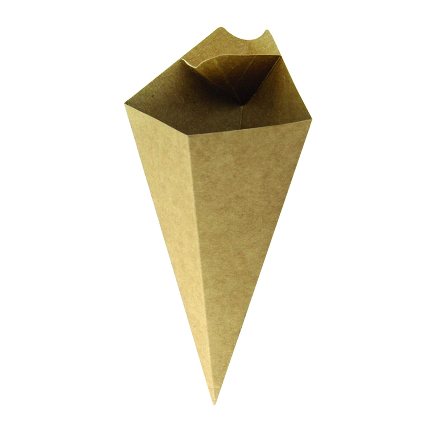 PacknWood Kraft Paper Cones with Built in Dipping Sauce Compartment, 7.5