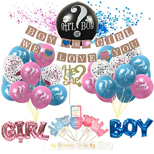 (Gender Reveal Party Supplies Set - Includes Decorations, Large Baby Gender Reveal Balloon, Blue & Pink Balloons, Props, Cake Topper, Sash, Banners, and More | Great For Any Reveal Party)